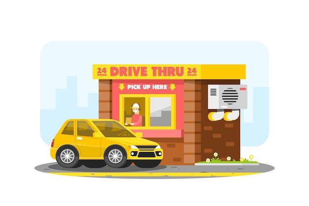 Conduire à travers la fenêtre avec voiture et travailleur