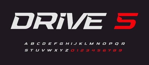 Conduisez des lettres vectorielles de course de voiture alphabet italique dans une police époustouflante de style sport moderne avec des éperons intérieurs