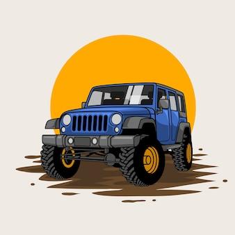 Conduite extrême au soleil ou en voiture tout-terrain sur la flaque de boue