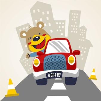 Conduite de voiture avec dessin animé animal mignon