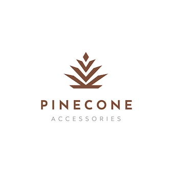 Cône de conifère de pin luxe élégant logo