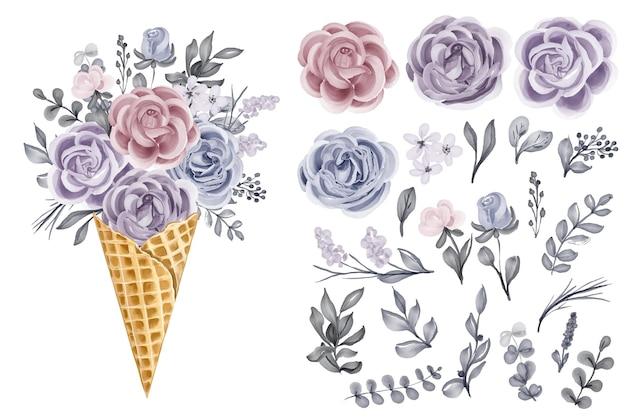 Cône de glace avec bouquet de fleurs avec clipart isolé fleur d'hiver rose et feuilles