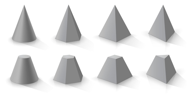 Cône gris et ensemble de pyramides