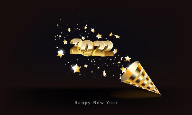 Cône de popper de fête de nombres d'or et confettis scintillants isolés sur la bonne année noire
