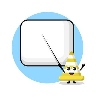 Le cône de signalisation devient une mascotte de personnage mignon d'enseignant