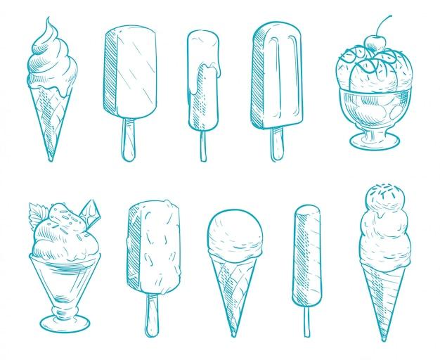 Cônes de crème glacée doodle vector ensemble. glaces dessinées à la main