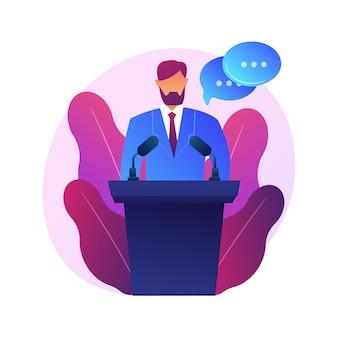 Conférence d'affaires, présentation d'entreprise. personnage plat de haut-parleur féminin avec des bulles vides. débats politiques, professeur, séminaire.