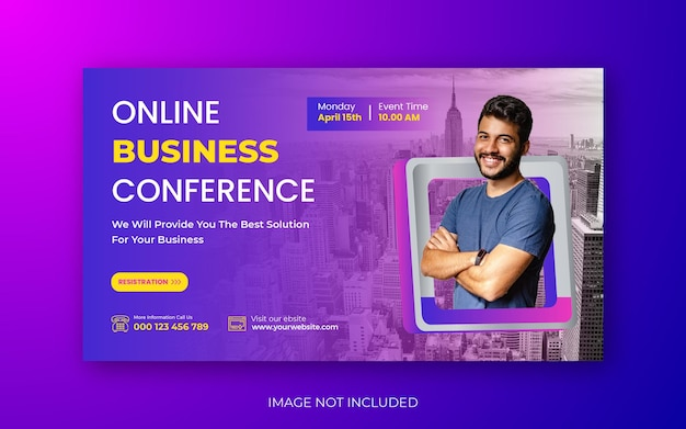 Conférence d'affaires you tube thumbnail ou web banner template design