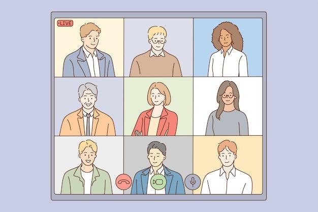 Conférence en ligne, diffusion en direct du concept de groupe multiethnique.