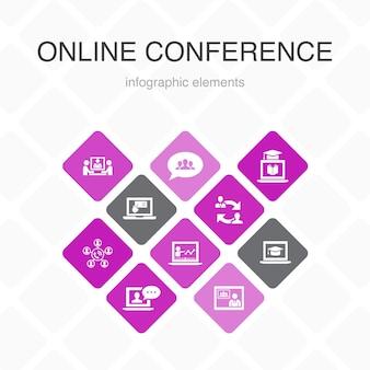 Conférence en ligne infographie 10 option couleur design.chat de groupe, apprentissage en ligne, webinaire, icônes simples de conférence téléphonique