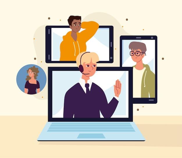 Conférence en ligne par appareils