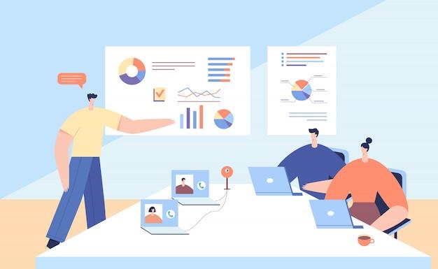 Conférence en ligne avec des partenaires commerciaux. réflexion en équipe et brainstorming. les gens discutent des résultats de l'entreprise avec la communication vidéo.