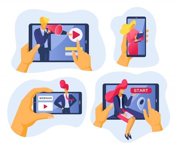 Conférence en ligne et webinaire sur internet, illustration. gens d'affaires avec technologie vidéo web, communication