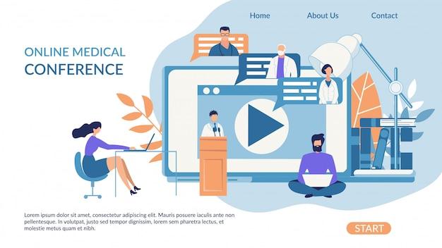 Conférence médicale en ligne sur les bannières publicitaires.