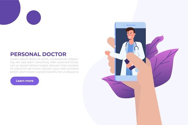 Conférence médicale en ligne, concept de consultation en ligne doctor distant. illustration vectorielle plane
