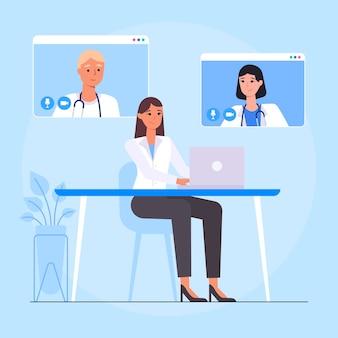 Conférence médicale en ligne design plat
