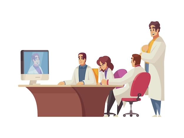 Conférence médicale en ligne avec dessin animé de groupe de médecins