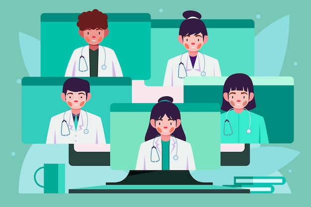 Conférence médicale en ligne illustration plate
