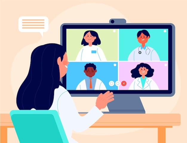 Conférence médicale en ligne à plat bio