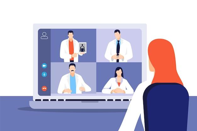Conférence médicale en ligne à plat