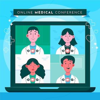 Conférence médicale en ligne plate illustrée