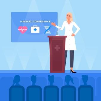 Conférence médicale plate illustrée