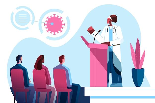Conférence médicale plate avec un médecin parlant