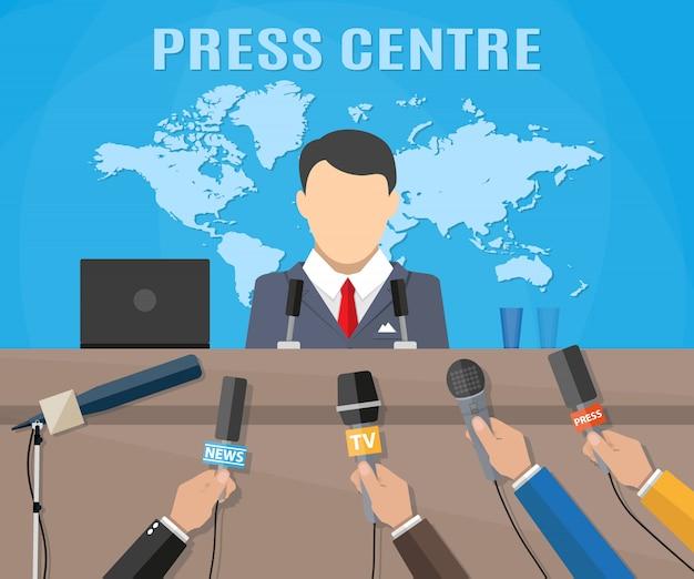 Conférence de presse, actualités télévisées mondiales en direct