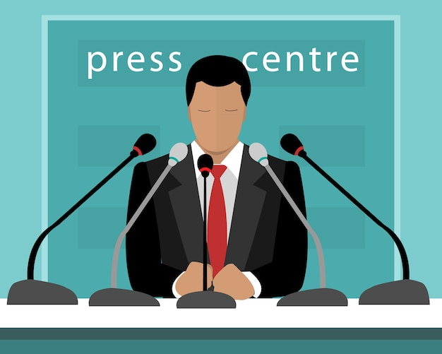Conférence de presse avec un orateur. illustration de l'homme sans visage avec des microphones parlant à la presse.