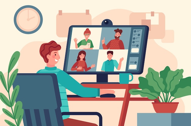 Conférence vidéo. les hommes au moniteur organisent une réunion virtuelle collective, un chat en ligne de travail à distance, une téléconférence sur un concept vectoriel à l'écran. éducation en ligne sur ordinateur depuis le lieu de travail à domicile