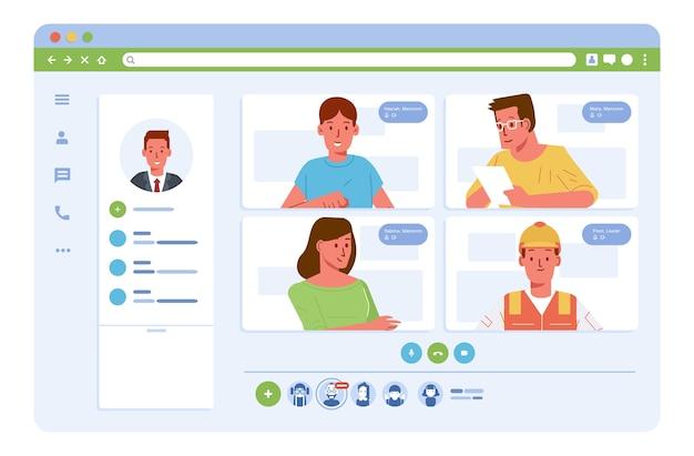 Conférence vidéo de réunion en ligne du travailleur au bureau et sur le terrain