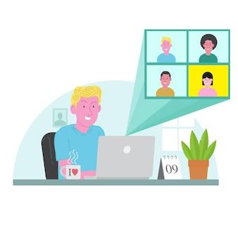 Conférence vidéo de travail à domicile