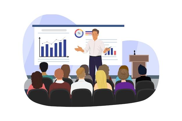 Conférencier lors d'une réunion d'affaires dans la salle de conférence