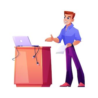 Conférencier par l'entraîneur de podium ou l'homme d'affaires d'enseignant