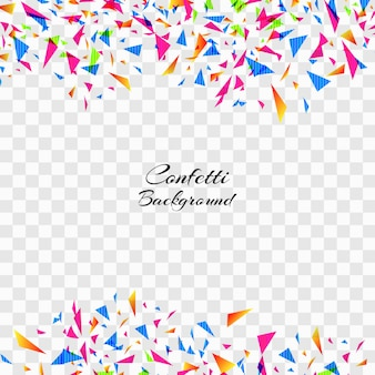Confetti coloré abstrait sur fond transparent.