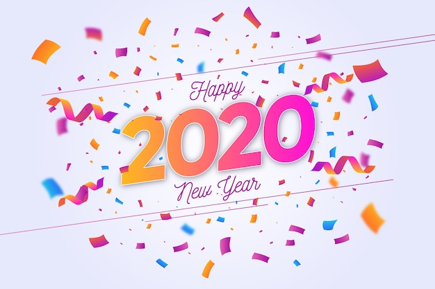 Confetti nouvel an 2020 fond