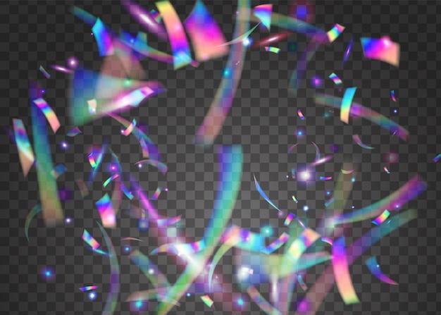 Confettis arc-en-ciel. flyer rétro. guirlande de carnaval. effet irisé. fleuret festif. texture en métal rose. licorne art. fond d'écran du festival de flou. confettis arc-en-ciel violet