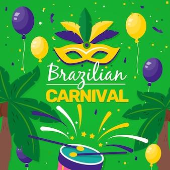 Confettis et ballons carnaval brésilien dessinés à la main