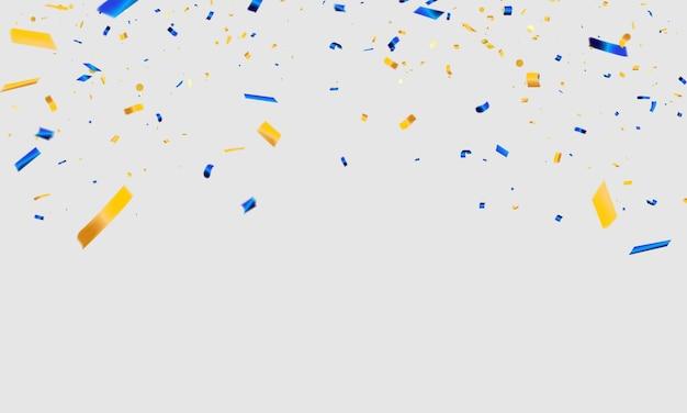 Confettis bleus et jaunes rubans de carnaval de célébration