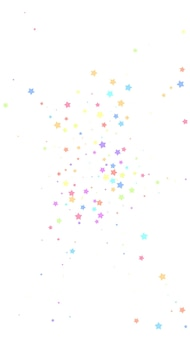 Confettis brillants festifs. étoiles de célébration. étoiles colorées aléatoires sur fond blanc. modèle de superposition festive fraîche. fond de vecteur vertical.