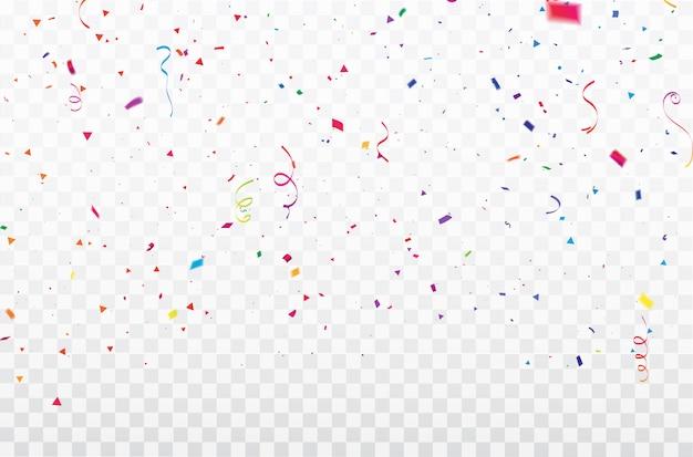 Confettis de célébration cadre de rubans colorés.