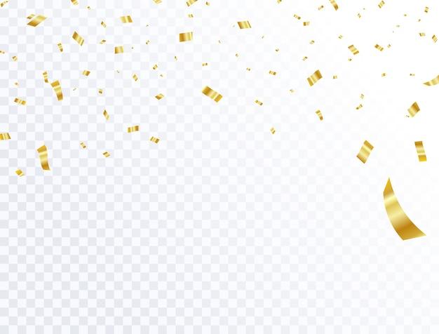 Confettis de célébration et rubans en or.