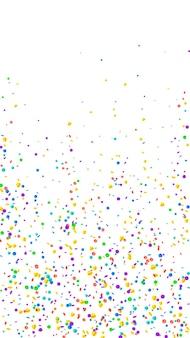 Confettis chics festifs. étoiles de célébration. confettis lumineux sur fond blanc. magnifique modèle de superposition festive. fond de vecteur vertical.
