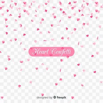 Confettis de coeur en arrière-plan transparent