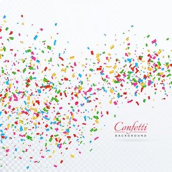 Confettis collatéraux et rubans tombant en fond de vecteur