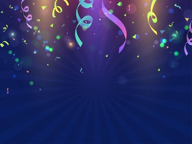 Confettis colorés décorés fond de rayons bleus
