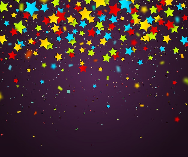Confettis colorés d'étoiles. fond de vacances