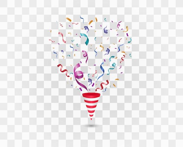 Confettis colorés sur fond blanc. fond joyeux festif. cône avec des confettis.