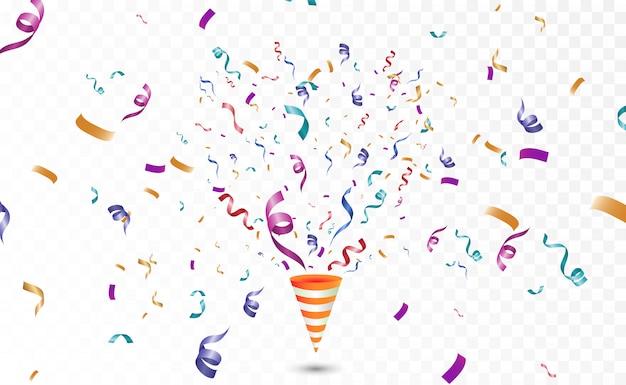 Confettis colorés sur fond blanc. fond de vecteur joyeux festif. cône avec des confettis.