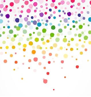 Confettis colorés sur forme ronde